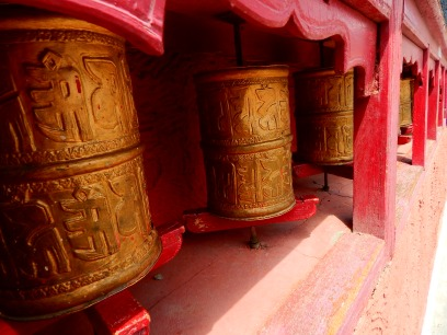 Prayer wheels at Shey Palace